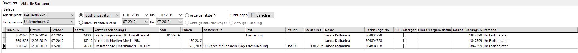 Buchungssatz-HIW ERP System